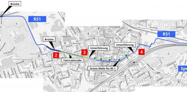 Radschnellweg über Rottstraße und Südring