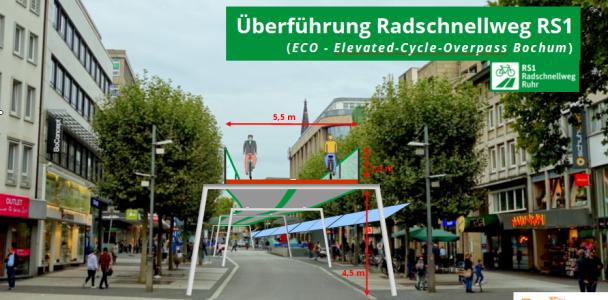 Den Radschnellweg (RS1) über eine Hochtrasse mitten durch die Innenstadt führen