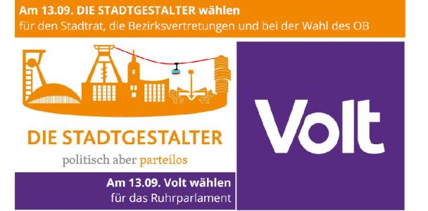 STADTGESTALTER und Volt unterstützen sich bei der Kommunalwahl am 13.09. gegenseitig