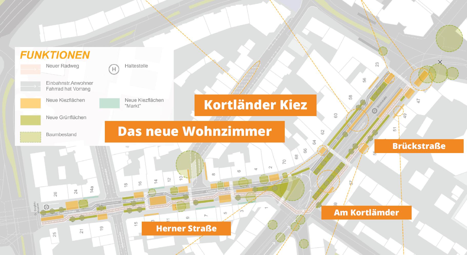 Herner und Brückstraße sollen zum Wohnzimmer des Kortländer Kiezes werden