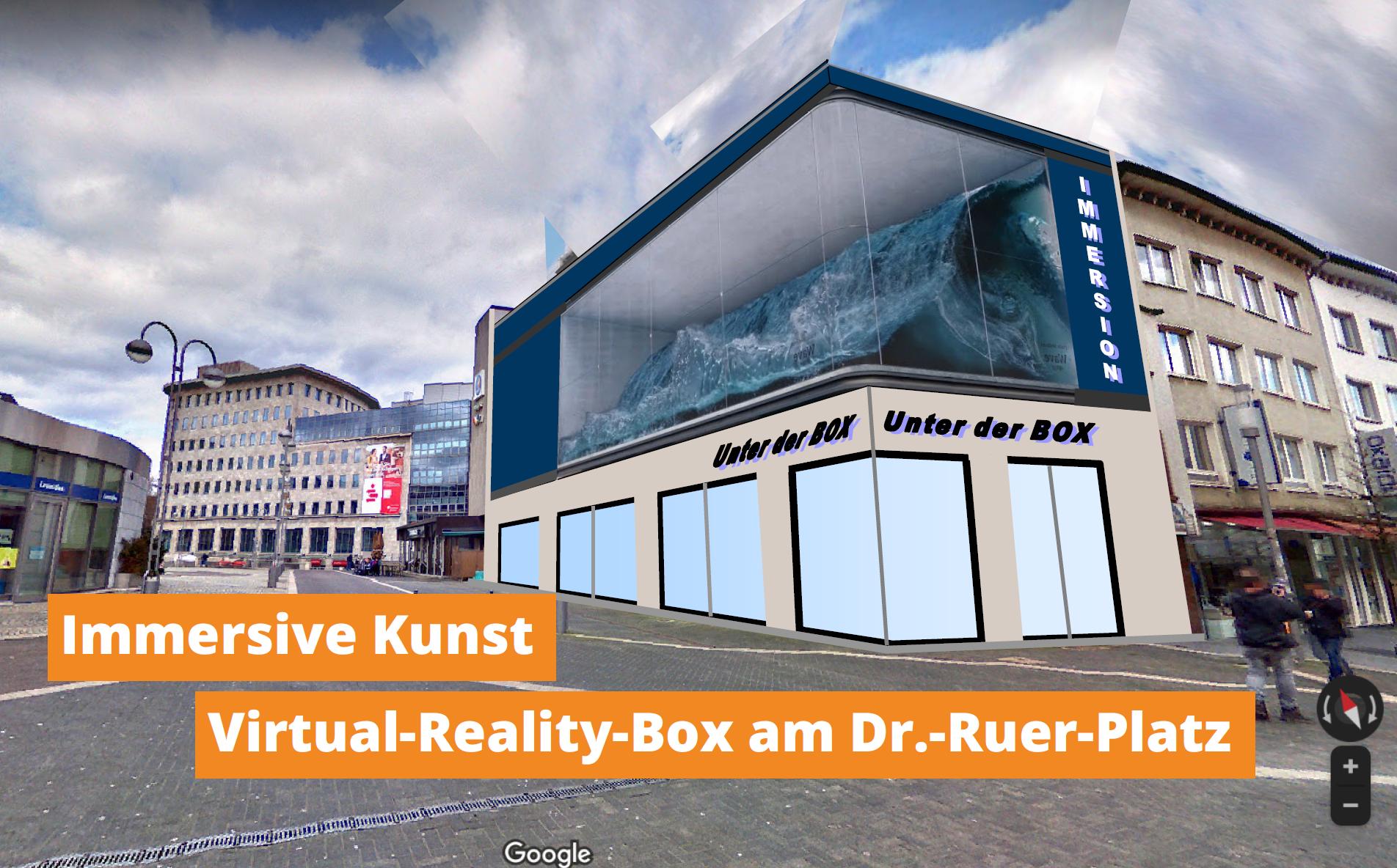 Riesige Virtual-Reality-Box auf dem Dr.-Ruer-Platz