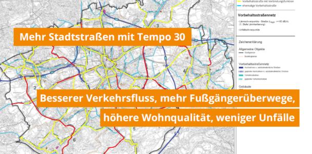 Mehr Stadtstraßen mit Tempo 30