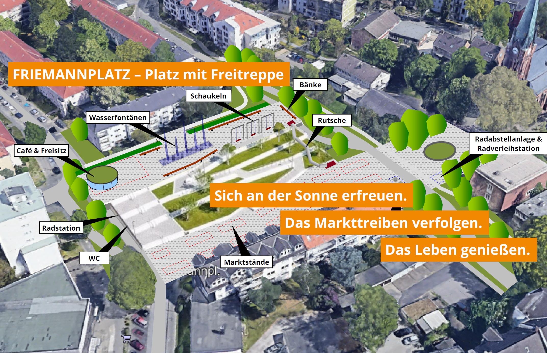 Neugestaltung Friemannplatz: Grüne Freitreppe, Abendmarkt, Quartiersparkhaus und mehr