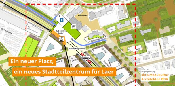 Ein neuer Platz über der Wittener Straße, der Laer und Mark 51°7 verbindet